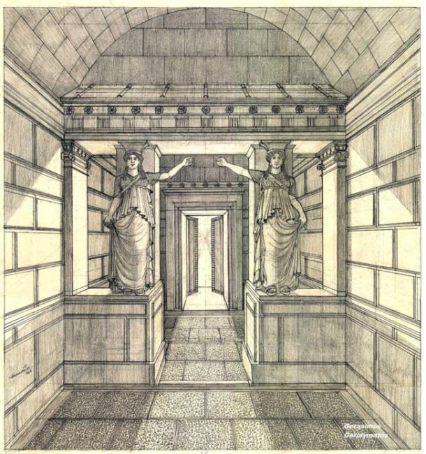 Scaled representation of how the caryatid sculptures would have once looked inside the Amphipolis tomb
