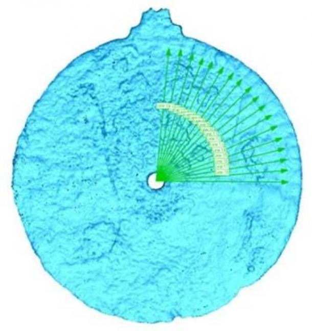 Scan of the astrolabe artifact, revealing the etches.