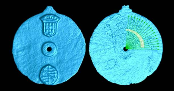 Scan of the astrolabe artifact, displaying the etches. (Image: University of Warwick )