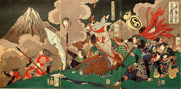 Scene featuring samurai, Yamamoto Kansuke (1501-1561), who was killed in the battle of Kawanakajima. He is thought to have written the majority of the text.