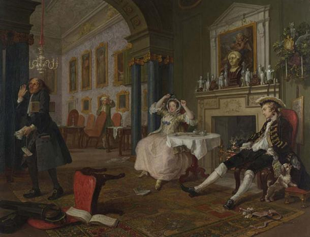 Scene from 'Marriage à-la-mode' by William Hogarth. The marriage is suffering - the husband and wife are going their separate ways - as evidenced by their state of overindulgence and disinterest in one another