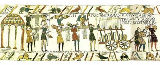 Scene from the Bayeux Tapestry showing Normans preparing for the invasion of England. (Public Domain)