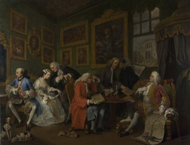 Scene from 'Marriage à-la-mode' by William Hogarth showing a marriage settlement