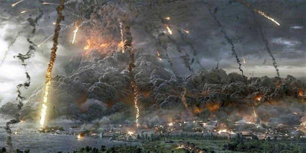 "Scene of destruction in the film ""Pompeii 3d"" (2014)."