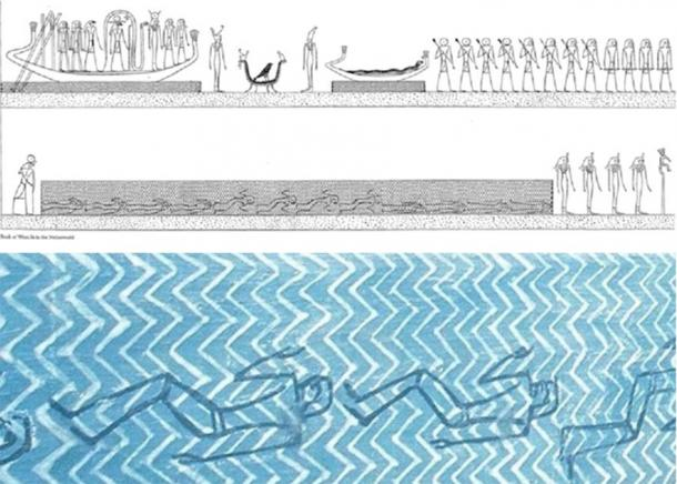 Top: Scene from Tomb KV-35, Amenhotep II, Amduat, Tenth Hour; showing drowned men in water, similar to the Exodus drowning. These are innocent men who were denied a regular burial and who will be resurrected by Horus from drowning. Bottom: Close-up of the same panel, showing the drowned soldiers underwater, in the waters of Nun, dead but to be revived later. (Piankoff and Rambova, 1954)