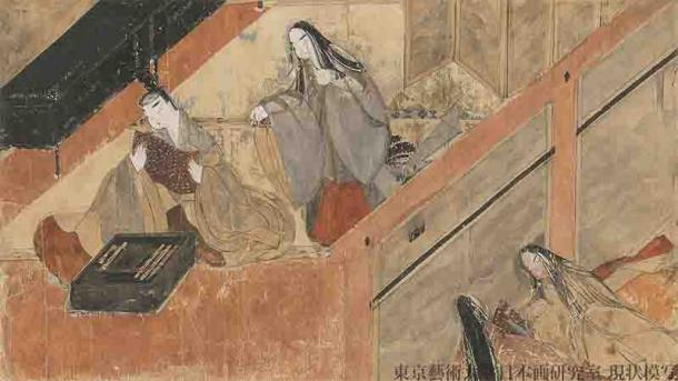 """A scene from the """"The Tale of Genji,"""" the world's first novel, showing Yugiri reading a letter from the mother of Ochiba no Miya. Kumoi no Kari (Yugiri's wife), who misunderstood the letter as a love letter from Ochiba no Miya to Yugiri, sneaks up from behind and tries to steal it. (Imperial Palace Kyoto / Public domain)"""