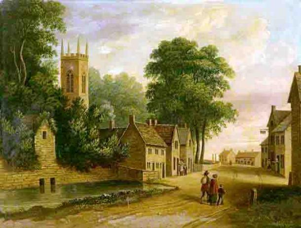 An early nineteenth-century scene showing the Eyam village pond, plague cottages, church tower, Talbot Inn and cottages, rectory gateposts and four groups of figures. (Public Domain)