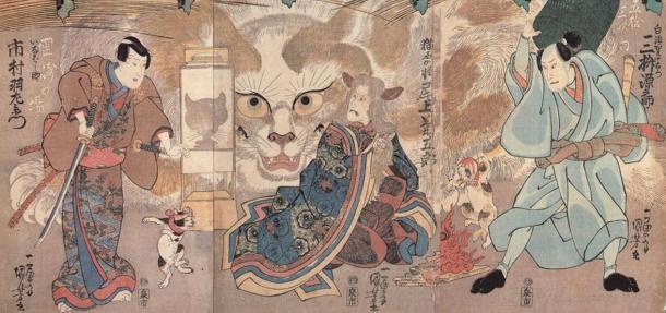 "Scenes from a kabuki (traditional Japanese dance-drama) called ""Ume no Haru Gojūsantsugi"" (1835) by Utagawa Kuniyoshi."