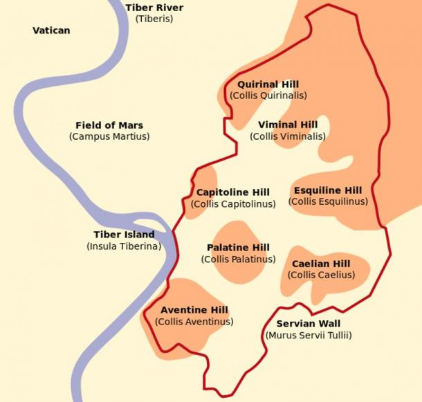 Schematic map of Rome showing the Seven Hills of Rome, including Quirinal Hill.