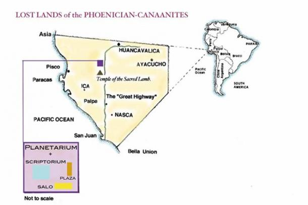 """Schematic map of the Semitic peoples """"New World Kingdom"""" extracted from """"Portraits of the Gods"""" by William J Veall."""