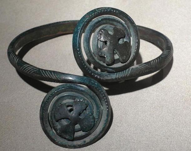 Schoulder straps of Lusatian culture from Krobów Treasury, Poland.