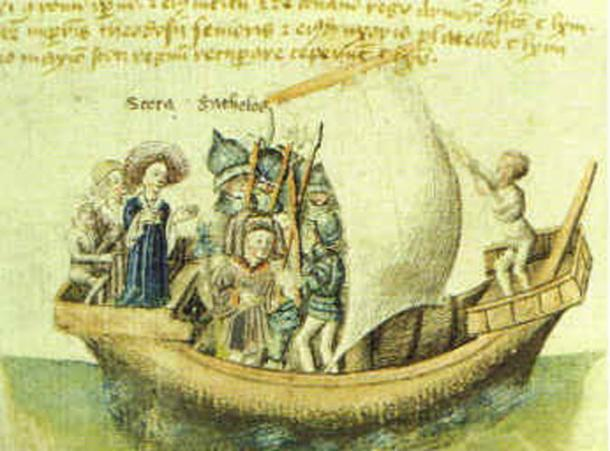 A depiction of Scota on a ship from the 1400s.