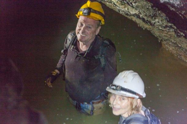 Scott and Wendy in the water in one of the caves.