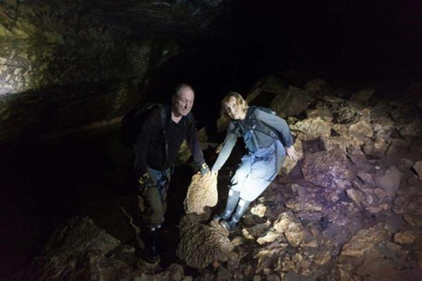 Scott and Wendy in a cave.