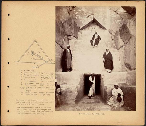 Scrapbook page containing an annotated photograph showing six men positioned around the entrance to the Cheops pyramid. The page also includes a labeled diagram showing the interior chambers and passageways of the pyramid, and their dimensions. Circa 1860 – 1890