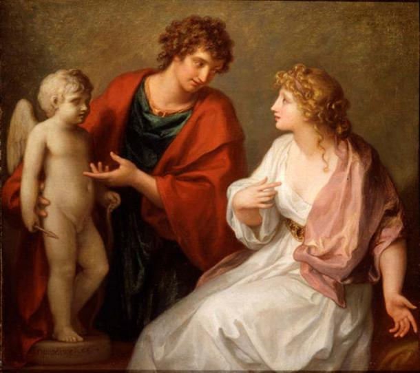 Sculptor Praxiteles offering a statue of Cupid (his favorite work) as a gift to Phryne. (1794) By Angelica Kauffman.