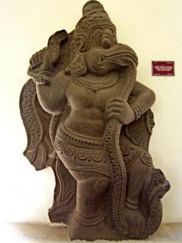 Sculpture depicting the Tengu – The Devourer known also as Garuda devouring a Naga serpent