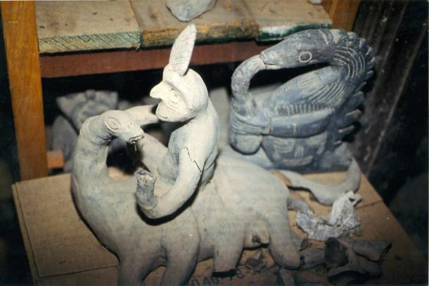 Sculpture from Prof. Cabrera's collection. Man rides saurian.