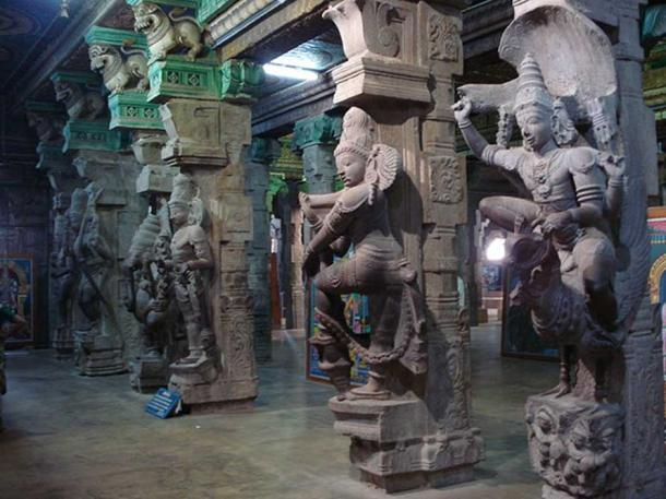 Sculptures inside the temple.
