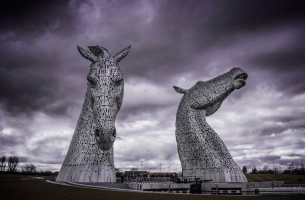 Sculptures of Kelpies in Falkirk.