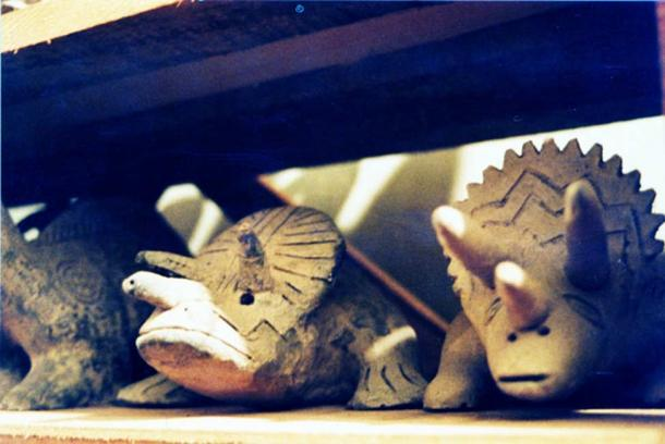 Sculptures of saurians in Prof. Cabrera's collection.