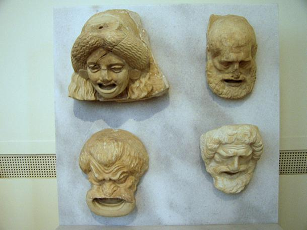 Sculptures of theater masks dating from the Hellenistic period. Currently on display in Room 30 of the National Archaeological Museum in Athens