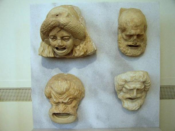 Sculptures of theater masks dating from the Hellenistic period. Currently on display in Room 30 of the National Archaeological Museum in Athens.