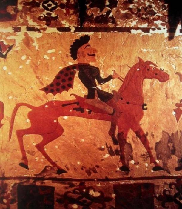 Scythian Horseman depicted on felt artifact, circa 300 BC.