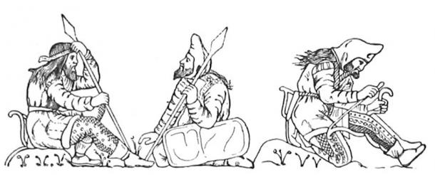 Scythian warriors, drawn after figures on an electrum cup from the Kul'Oba kurgan burial near Kerch. The warrior on the right is stringing his bow, bracing it behind his knee. Hair seems normally to have been worn long and loose, and beards were apparently worn by all adult men. The other two warriors on the left are conversing, both holding spears or javelins. The man on the left is wearing a diadem and therefore is likely to be the Scythian king.