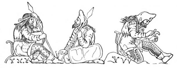 Scythian warriors, drawn after figures on an electrum cup from the Kul'Oba kurgan burial near Kerch.