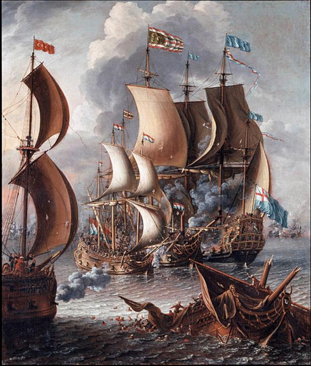 A Sea Fight with Barbary Corsairs by Castro, Lorenzo (after 1681) (Public Domain)