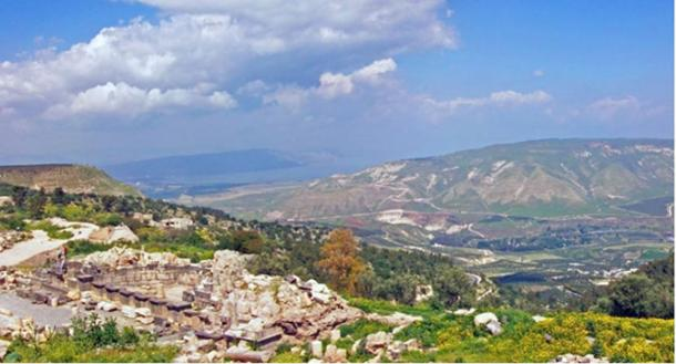 Sea of Galilee and southern Golan Heights, from Umm Qais, Jordan. (Daniel Case/CC BY SA 3.0)