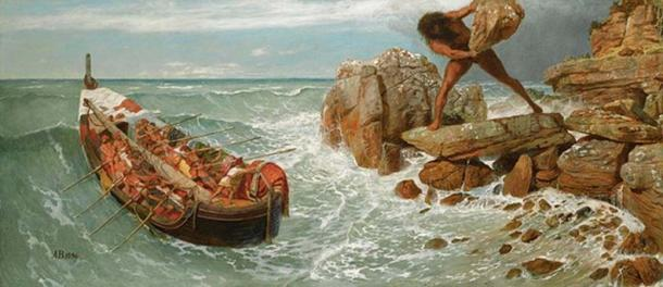 Sea scene from the Odyssey of Odysseus and Polyphemus (1896) by Arnold Böcklin. (Public Domain)