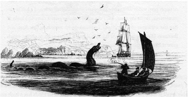 Sea serpent (nuckelavee) from Bishop Erik Pontoppidan's 1755 work Natural History of Norway.