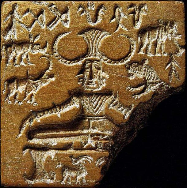 """Seal discovered during excavation of the Mohenjodaro archaeological site in the Indus Valley has drawn attention as a possible representation of a """"yogi""""."""