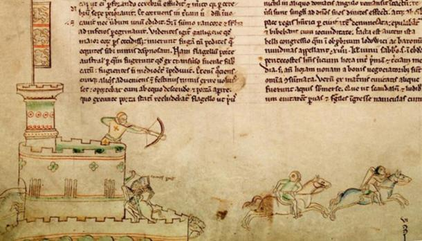 A 13th-century depiction of the Second Battle of Lincoln, which occurred at Lincoln Castle on 20 May 1217; the illustration shows the death of Thomas du Perche, the Comte de la Perche.