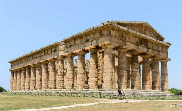 Second temple of Hera, also called Neptune temple or Poseidon temple, Paestum (Poseidonia), Campania, Italy.