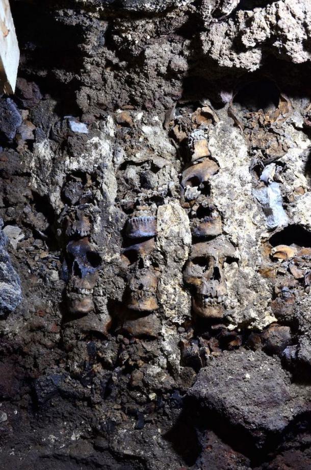 Section of the huey tzompantli (skull rack) found under Mexico City