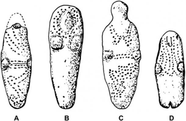 Selected Basketmaker III unfired clay figurines exhibiting punctate designs that may represent body decoration. (A) Segi Canyon, AZ. (B, C) Prayer Rock District, AZ. (D) Canyon de Chelly, AZ. (Gillreath‑Brown et al.)
