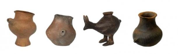 Selection of Late Bronze Age feeding vessels. The vessels are from Vienna, Oberleis, Vösendorf and Franzhausen-Kokoron (from left to right), dated to around 1200 to 800 BC. (Katharina Rebay-Salisbury / Nature)