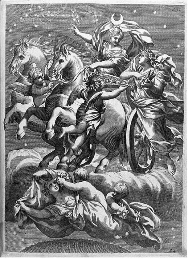 Selene, Greek goddess of the moon, in a flying chariot drawn by two white horses.