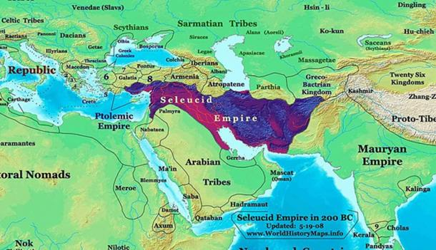 Seleucid Empire in 200 BC, with the Roman Republic to the west. (CC BY-SA 3.0)