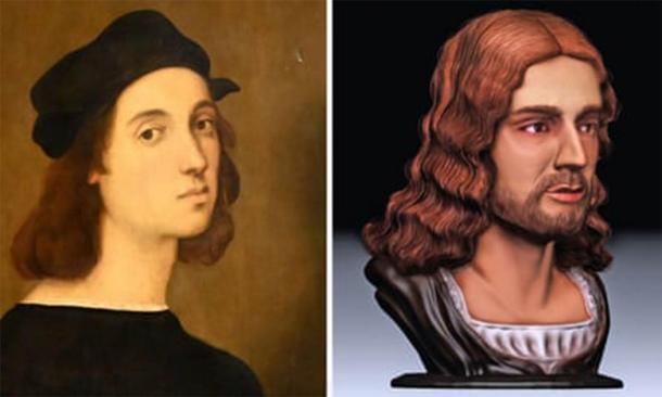 Self-portrait of Raphael (Public Domain) compared to the new facial reconstruction. (Tor Vergata University)