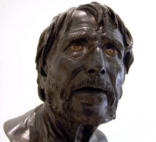 Seneca. Ancient Roman bronze bust now at the National Archaeological Museum of Naples, Italy.