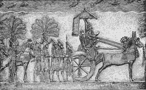 Sennacherib in his chariot during his Babylonian war, relief from his palace in Nineveh. (Public Domain)