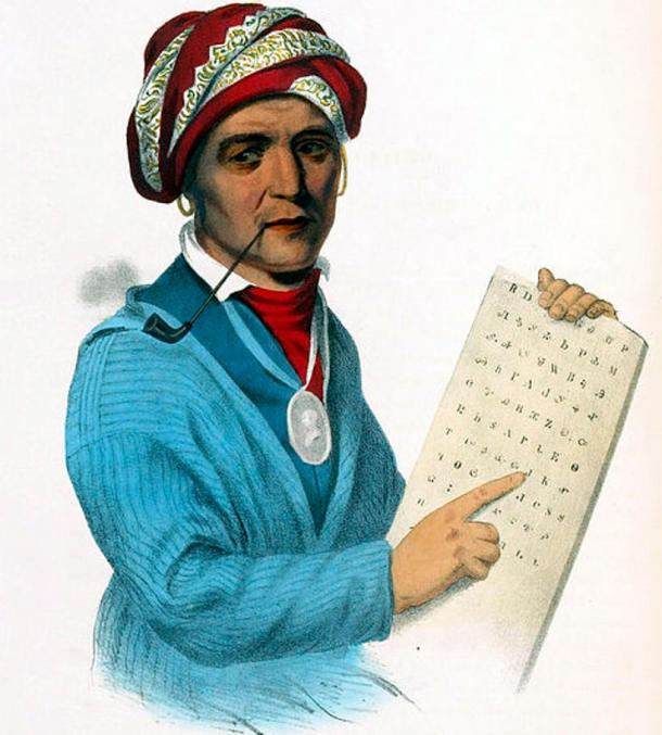 Sequoyah with a tablet depicting his writing system for the Cherokee language. Sequoyah was a Cherokee however he embraced the news ways as opposed to Tsali who was a traditionalist