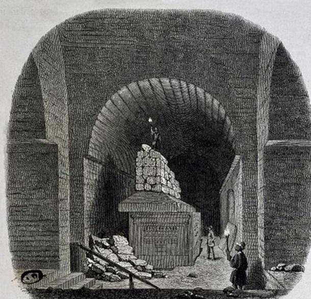 Serapeum of Saqqara. Le Serapeum de Memphis, Vue interieure. Illustration for Le Magasin Pittoresque (1855). (GRESPO)