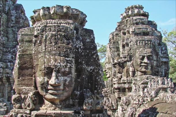 Serene Buddhist bodhisattva faces watch over you at the Bayon at the Angkor Thom
