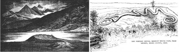 Left: Serpent Mound at Loch Nell taken from Constance Cumming's In the Hebrides (1883). Right: The  Serpent Mound in Ohio