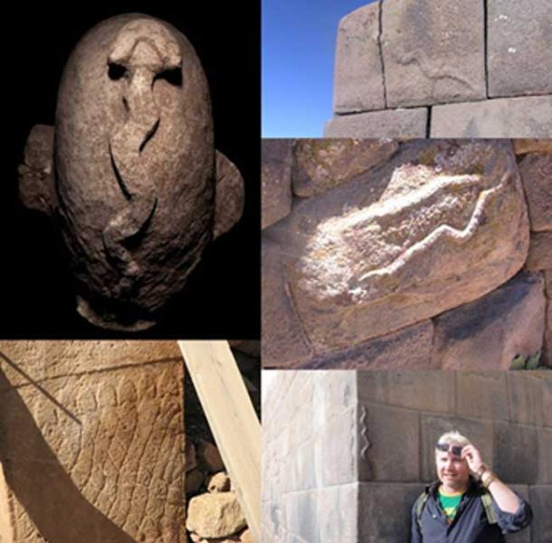 Top left: Serpent carving from Nevali Cori. Bottom Left: Serpents at Gobekli Tepe. Top Right: Sillustani, Peru. Middle right: Cutimbo, Peru. Bottom Right: Cuzco, Peru with the author.